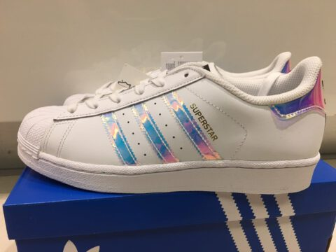 Adidas Holographic Superstar Originals สีรุ้ง ป้ายดำ แบบเก่า