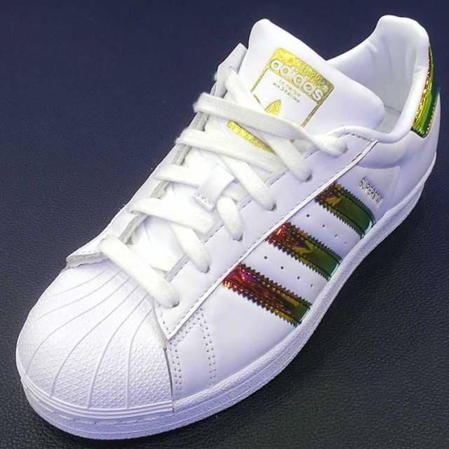 รองเท้า Adidas แท้ ราคา Superstar Hologram สีรุ้ง ขาว ทอง