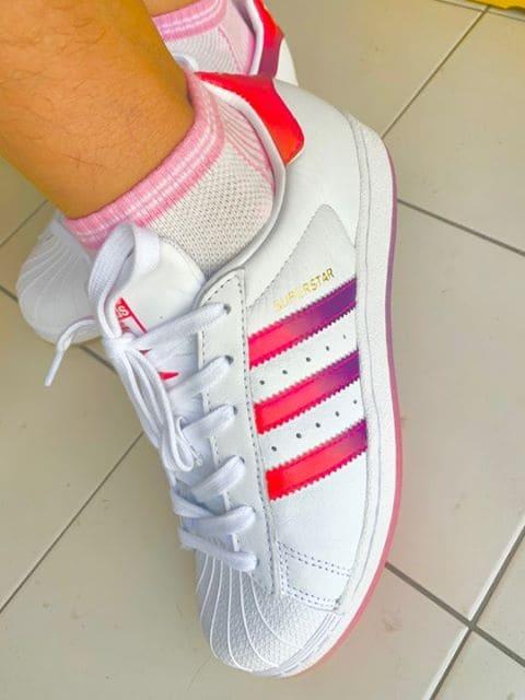 เช็ค ราคา ! Adidas สีชมพู Superstar Sneakers Red / Pink