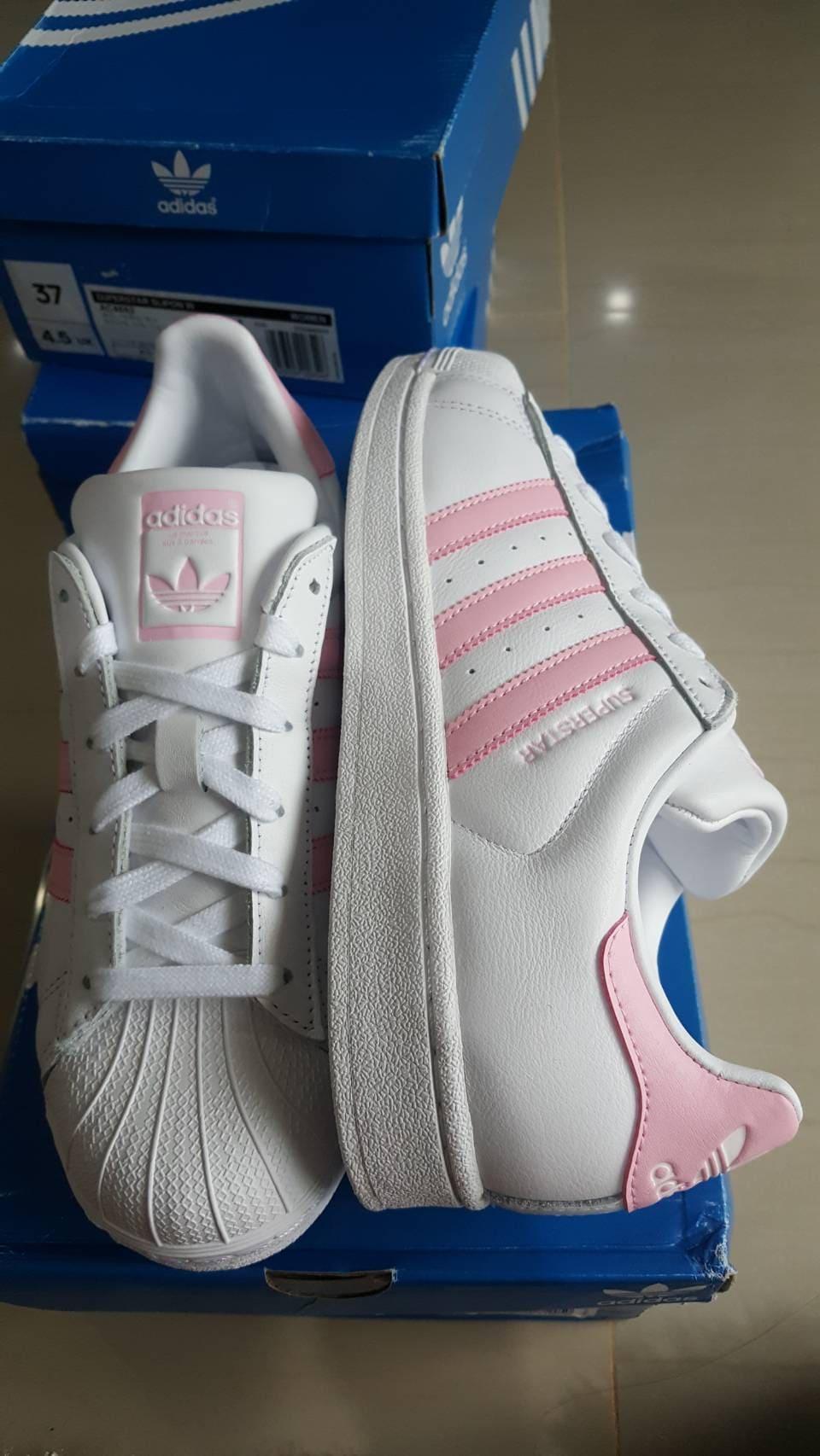 เช็ค ราคา ! adidas Originals Superstar W White Pink สีชมพูอ่อน รุ่น ผู้หญิง