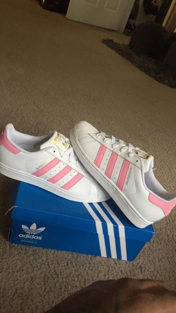 เช็ค ราคา ! Adidas YOUTH ORIGINALS SUPERSTAR SHOES Pink ชมพู ป้ายทอง