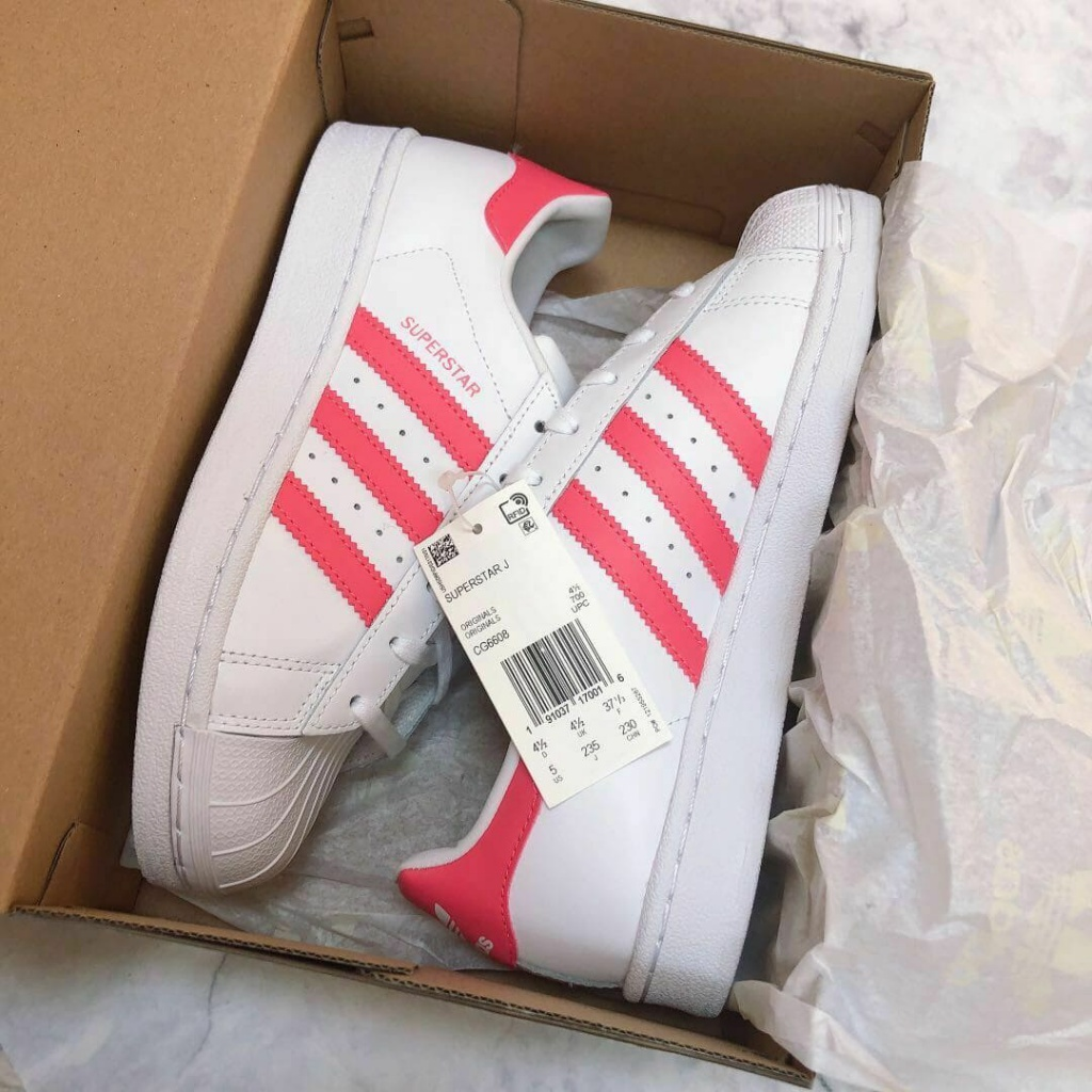 Adidas Kids Superstar Cloud White and Real Pink ชมพู รุ่นผู้หญิงใส่