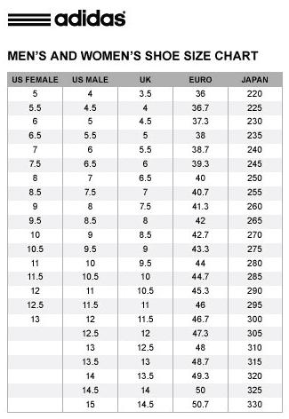 ตาราง Size Chart ของ Stan Smith มีไหม ?